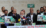 Deputy Speaker of the Legislative Council, Ahmed Bahar speaks during a protest to show solidarity with Leader of the northern Islamic Movement Sheikh Raed Salah who is in solitary confinement in Israeli jails in front of Red cross office in Gaza city, on Oct. 27, 2016. Sheikh Salah is currently in Ramon Prison in the Negev and is spending a nine-month prison term. Photo by Yasser Qudih