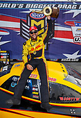 NHRA Mello Yello Drag Racing Series<br /> Chevrolet Performance U.S. Nationals<br /> Lucas Oil Raceway, Indianapolis, IN USA<br /> Monday 4 September 2017 J.R. Todd, DHL, Camry, funny car, victory, celebration, trophy<br /> <br /> World Copyright: Mark Rebilas<br /> Rebilas Photo