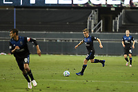 SAN JOSE, CA - OCTOBER 07: Tommy Thompson #22 of the San Jose Earthquakes during a game between Vancouver Whitecaps and San Jose Earthquakes at Earthquakes Stadium on October 07, 2020 in San Jose, California.