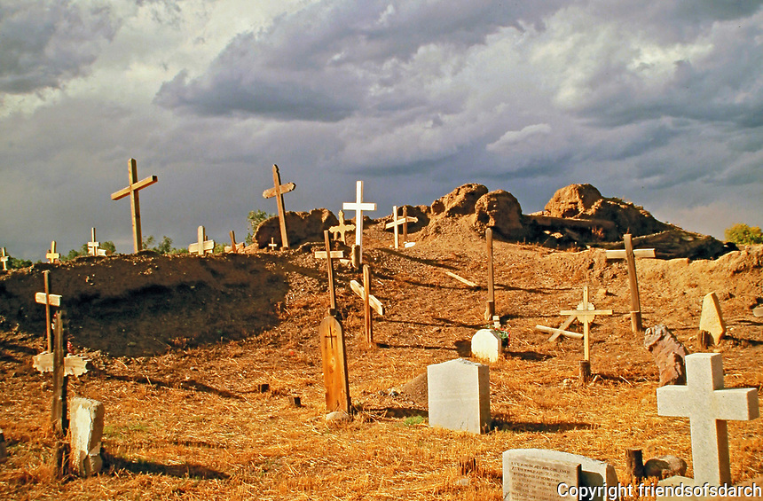 Gravesite with wooden crosses, Taos, New Mexico.