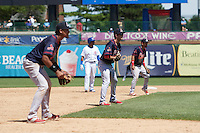 Peoria Chiefs third baseman Leobaldo Pina (left), second baseman Josh Swirchak (center) and shortstop Jose Martinez (right) in the defensive shift during the first game of a doubleheader against the South Bend Cubs on July 25, 2016 at Four Winds Field in South Bend, Indiana.  South Bend defeated Peoria 9-8.  (Mike Janes/Four Seam Images)