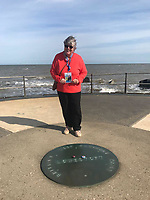 BNPS.co.uk (01202 558833)<br /> Pic: PennyIbbott/BNPS<br /> <br /> Pictured: Penny in Lowestoft on Sunday.<br /> <br /> Second time lucky...<br /> <br /> An intrepid pensioner has restarted her mission to travel around England on her free bus pass for charity 18 months after she had to cancel due to Covid.<br /> <br /> Grandmother Penny Ibbott was 16 days into her journey in March last year when Boris Johnson announced that people should stop any non-essential travel as the pandemic hit.<br /> <br /> The 75-year-old was devastated to call it off after months of planning, but has not let it beat her and has now set off to do the whole route again.