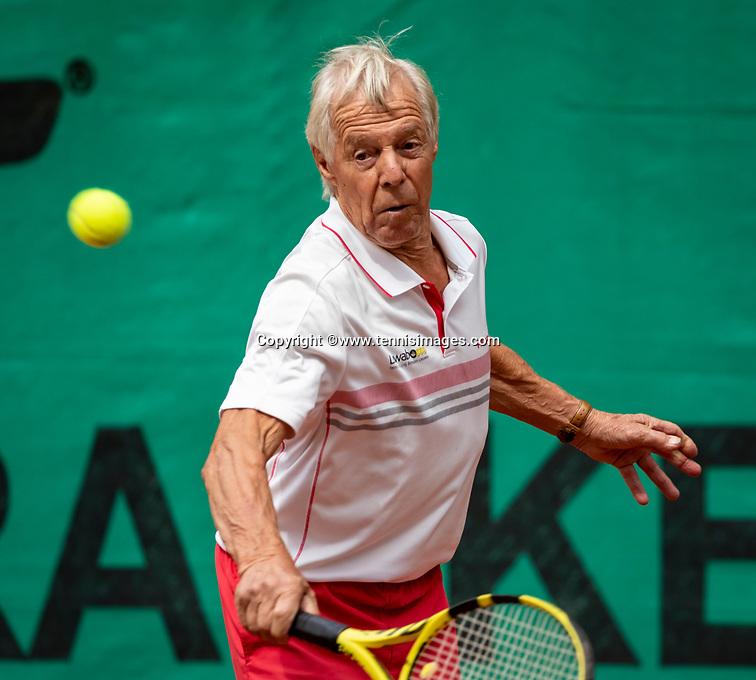 Hilversum, The Netherlands,  August 18, 2020,  Tulip Tennis Center, NKS, National Senior Championships, Men's single 80+  The v/d Bosch (NED)<br /> Photo: www.tennisimages.com/Henk Koster