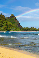 A (barely) double rainbow over Makana Mountain (or Mt. Makana, also called Bali Hai), northern
