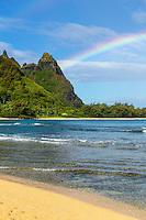 A (barely) double rainbow over Makana Mountain (or Mt. Makana, also called Bali Hai), northern