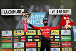 Gino Mäder (SUI) Bahrain Victorious wins the day's combativity prize at the end of Stage 7 of Paris-Nice 2021, running 119.2km from Le Broc to Valdeblore La Colmiane, France. 13th March 2021.<br /> Picture: ASO/Fabien Boukla | Cyclefile<br /> <br /> All photos usage must carry mandatory copyright credit (© Cyclefile | ASO/Fabien Boukla)