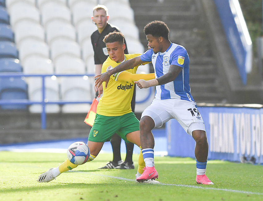 Huddersfield Town's Josh Koroma battles with Norwich City's Max Aarons<br /> <br /> Photographer Dave Howarth/CameraSport<br /> <br /> The EFL Sky Bet Championship - Huddersfield Town v Norwich - Saturday September 12th 2020 - The John Smith's Stadium - Huddersfield<br /> <br /> World Copyright © 2020 CameraSport. All rights reserved. 43 Linden Ave. Countesthorpe. Leicester. England. LE8 5PG - Tel: +44 (0) 116 277 4147 - admin@camerasport.com - www.camerasport.com