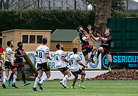 Will Lovell of London Broncos and Ed Chamberlain (on loan from Salford) of London Broncos during the Betfred Challenge Cup match between London Broncos and York City Knights at The Rock, Rosslyn Park, London, England on 28 March 2021. Photo by Liam McAvoy.