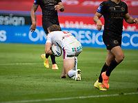 22nd August 2020; The John Smiths Stadium, Huddersfield, Yorkshire, England; Rugby League Coral Challenge Cup, Catalan Dragons versus Wakefield Trinity; Jacob Miller of Wakefield Trinity scores late in the second half