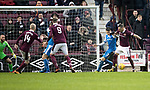 Hearts v St Johnstone…03.02.18…  Tynecastle…  SPFL<br />David Milinkovic turns Scott Tanser to score<br />Picture by Graeme Hart. <br />Copyright Perthshire Picture Agency<br />Tel: 01738 623350  Mobile: 07990 594431