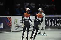 SPEEDSKATING: DORDRECHT: 05-03-2021, ISU World Short Track Speedskating Championships, QF 1500m Men, Sjinkie Knegt (NED), Itzhak de Laat (NED), ©photo Martin de Jong