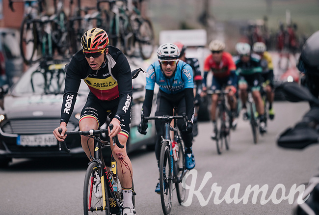Blooded Belgian champion Oliver Naesen (BEL/AG2R-LaMondiale) returning to the peloton after a crash<br /> <br /> 61th E3 Harelbeke (1.UWT)<br /> Harelbeke - Harelbeke (206km)