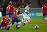 3rd June 2021; Estadio Único de Santiago del Estero, Santiago del Estero, Argentina; World Cup football qualification, Argentina versus Chile; Lionel Messi of Argentina breaks past Jean Meneses of Chile