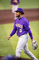 LSU Tigers starting pitcher Jaden Hill (0) walks off the field between innings of the game against the Tennessee Volunteers on Robert M. Lindsay Field at Lindsey Nelson Stadium on March 27, 2021, in Knoxville, Tennessee. (Danny Parker/Four Seam Images)