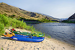 Inflatable Kayaks beached on the Lower Salmon River, central Idaho