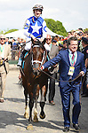 Tepin (no. 9), ridden by Julien Leparoux and trained by Mark Casse, wins the 22nd running of the grade 1 Just a Game Stakes for fillies and mares four years old and upward on June 06, 2015 at Belmont Park in Elmont, New York. (Bob Mayberger/Eclipse Sportswire)
