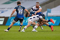 29th August 2020; AJ Bell Stadium, Salford, Lancashire, England; English Premiership Rugby, Sale Sharks versus Bristol Bears;  Ben Curry (C) of Sale Sharks watches on as his brother  Tom Curry of Sale Sharks is tackled