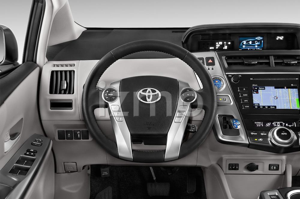 Car pictures of steering wheel view of a 2015 Toyota Prius v Four 4 Door Hatchback Steering Wheel