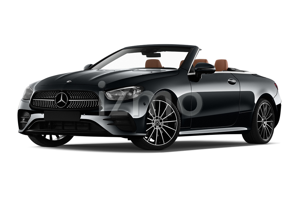 Stock pictures of low aggressive front three quarter view of 2021 Mercedes Benz E-Class AMG-Line 4 Door Convertible Low Aggressive