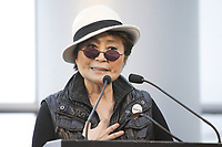Montreal (Qc) CANADA - March 31 2009 - Yoko Ono attend the  world opening of IMAGINE  PEACE at Montreal Museum of Fine Arts. After her speech ; a choir sung Give Peace a chance ; the song recorded by her and John Lennon during their historic bed in at Montreal's Queen Elizabeth Hotel.