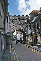 Salisbury: 14th Century Gateway to Cathedral Close on the High St. There was once a portcullis to protect the Bishop.