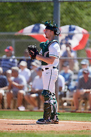 Dartmouth Big Green catcher Kyle Holbrook (9) during a game against the Villanova Wildcats on March 3, 2018 at North Charlotte Regional Park in Port Charlotte, Florida.  Dartmouth defeated Villanova 12-7.  (Mike Janes/Four Seam Images)