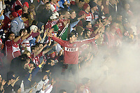 Chicago Fire fans. The Chicago Fire defeated D. C. United 1-0 during the first leg of the MLS Eastern Conference Semifinal Series at Toyota Park in Bridgeview, IL, on October 25, 2007.