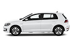 Car driver side profile view of a 2019 Volkswagen e-Golf Base 5 Door Hatchback