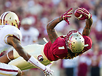 FSU wide receiver Kelvin Benjamin hauls in a pass that ruled incomplete because he did not have possession when the Florida State Seminoles defeated the Boston College Eagles 51-7 in their NCAA football game in Tallahassee, FL  Oct. 13, 2012.