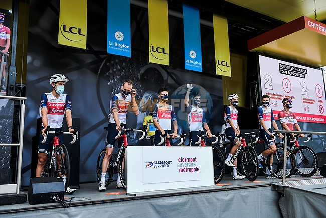 Trek-Segafredo at the Team Presentation before the start of Stage 1 of Criterium du Dauphine 2020, running 218.5km from Clermont-Ferrand to Saint-Christo-en-Jarez, France. 12th August 2020.<br /> Picture: ASO/Alex Broadway | Cyclefile<br /> All photos usage must carry mandatory copyright credit (© Cyclefile | ASO/Alex Broadway)