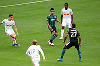 CARSON, CA - APRIL 25: Efrain Alvarez #26 of the Los Angeles Galaxy moves to the ball during a game between New York Red Bulls and Los Angeles Galaxy at Dignity Health Sports Park on April 25, 2021 in Carson, California.