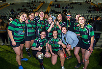 The Wainuiomata team after the 2019 Wellington secondary schools girls 1st XV rugby premier 2 final between Wainuiomata High School and Tawa College at Porirua Park in Wellington, New Zealand on Wednesday, 21 August 2019. Photo: Dave Lintott / lintottphoto.co.nz
