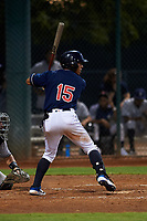AZL Indians Red Jean Montero (15) at bat during an Arizona League game against the AZL Padres 1 on June 23, 2019 at the Cleveland Indians Training Complex in Goodyear, Arizona. AZL Indians Red defeated the AZL Padres 1 3-2. (Zachary Lucy/Four Seam Images)