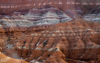 Layers of multi-colored clay beds due to leeching are exposed at the Parias Claybeds in Southern Utah