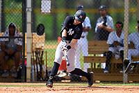 FCL Yankees Trey Sweeney (33) hits his first professional home run during a game against the FCL Tigers West on July 31, 2021 at Tigertown in Lakeland, Florida.  (Mike Janes/Four Seam Images)