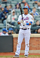 11 April 2012: New York Mets shortstop Ruben Tejada stands at bat during game action against the Washington Nationals at Citi Field in Flushing, New York. The Nationals shut out the Mets 4-0 to take the rubber match of their 3-game series. Mandatory Credit: Ed Wolfstein Photo