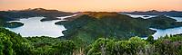 Sunset over Kenepuru Sound on left and Queen Charlotte Sound on right in Marlborough Sounds, Nelson Region, Marlborough, South Island, New Zealand