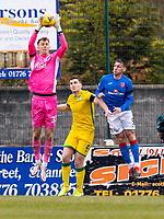 18th April 2021; Stair Park, Stranraer, Dumfries, Scotland; Scottish Cup Football, Stranraer versus Hibernian; Matt Macey of Hibernian collects a cross in his box for Hibernian