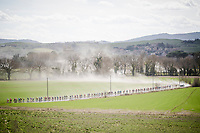 stretched peloton on the white dust roads of Tuscany<br /> <br /> 13th Strade Bianche 2019 (1.UWT)<br /> One day race from Siena to Siena (184km)<br /> <br /> ©kramon