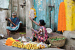 Marigold garland sellers, Kolkata, India
