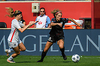 BRIDGEVIEW, IL - JULY 18: Kayla Sharples #28 of the Chicago Red Stars plays the ball during a game between OL Reign and Chicago Red Stars at SeatGeek Stadium on July 18, 2021 in Bridgeview, Illinois.