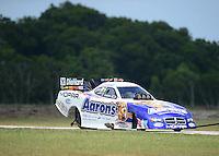 Apr. 28, 2012; Baytown, TX, USA: NHRA funny car driver Matt Hagan during qualifying for the Spring Nationals at Royal Purple Raceway. Mandatory Credit: Mark J. Rebilas-