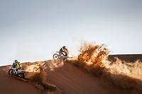 4th January 2021; Dakar Rally stage 2;  #142 Gerini Maurizio (ita), Husqvarna, Solarys Racing, Original by Motul, Moto, Bike, 101 Knight David (gbr), Husqvarna, HT Rally Raid Husqvarna Racing, Motul, Moto, Bike, action during the 2nd stage of the Dakar 2021 between Bisha and Wadi Al Dawasir, in Saudi Arabia on January 4, 2021