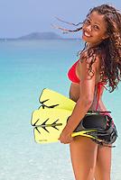 Alexa Putnam with snorkel gear<br /> Virgin Islands National Park<br /> St. John<br /> U.S. Virgin Islands
