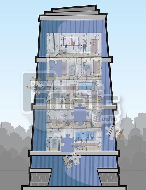 Illustrative representation showing recession
