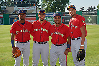 State College Spikes Moises Castillo (29), Stanley Espinal (21), Martin Figueroa (22), and Dariel Gomez (34) before a NY-Penn League game against the Batavia Muckdogs on July 2, 2019 at Dwyer Stadium in Batavia, New York.  Batavia defeated State College 1-0.  (Mike Janes/Four Seam Images)