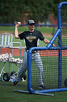 Steve Bernhardt, Executive VP of Baseball Operations, throws batting practice during the Under Armour All-American Game practice on August 14, 2015 at Les Miller Field in Chicago, Illinois. (Mike Janes/Four Seam Images)