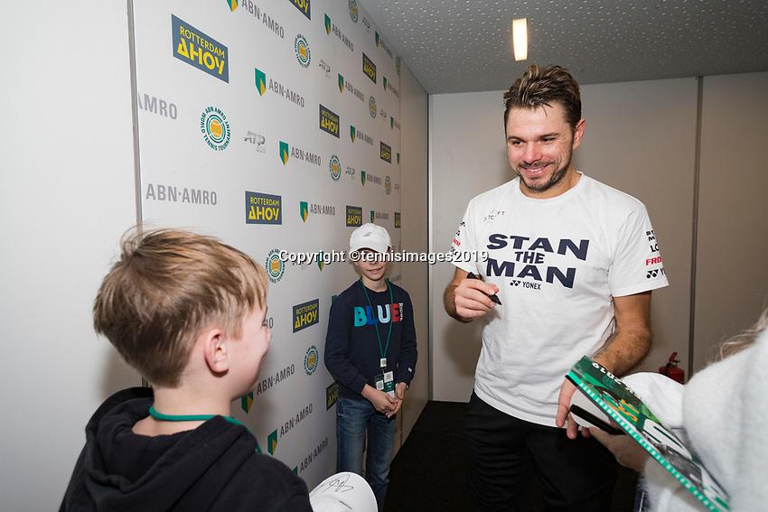 Rotterdam, The Netherlands, 14 Februari 2019, ABNAMRO World Tennis Tournament, Ahoy, Meet & Greet, Stan Wawrinka (SUI),<br /> Photo: www.tennisimages.com/Henk Koster