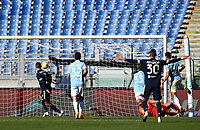 Football, Serie A: S.S. Lazio - Juventus Olympic stadium, Rome, November 8, 2020. <br /> Juventus Cristiano Ronaldo (l) scores during the Italian Serie A football match between Lazio and Juventus at Olympic stadium in Rome, on November 8, 2020.<br /> UPDATE IMAGES PRESS/Isabella Bonotto