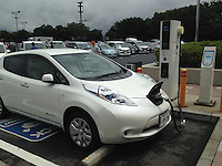 EV Quick Charging Point<br /> Nissan zero emission car, Leaf is charging at EV Quick Charging Point of Highway Service in Saitama, Japan